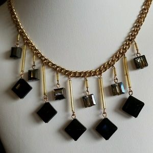 Faceted crystals glass DANGLE Necklace